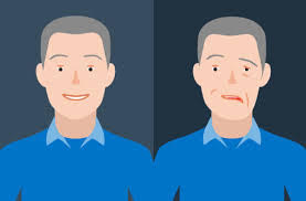 Image of man before and after Bell's palsy treatment.