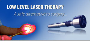 Treatment for sciatic nerve pain, Cold Laser Therapy. A person points a low level laser toward their open hand and a picture of a cold laser tool.