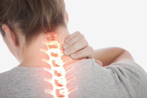 spine of woman with whiplash injury neck pain